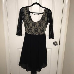 Mid length flowy black lace dress